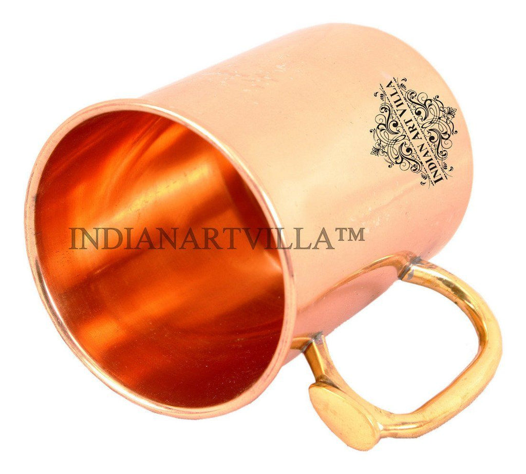 Pure Copper Moscow Mule Beer Mug with Brass Thumb Design Handle Beer Mugs Indian Art Villa
