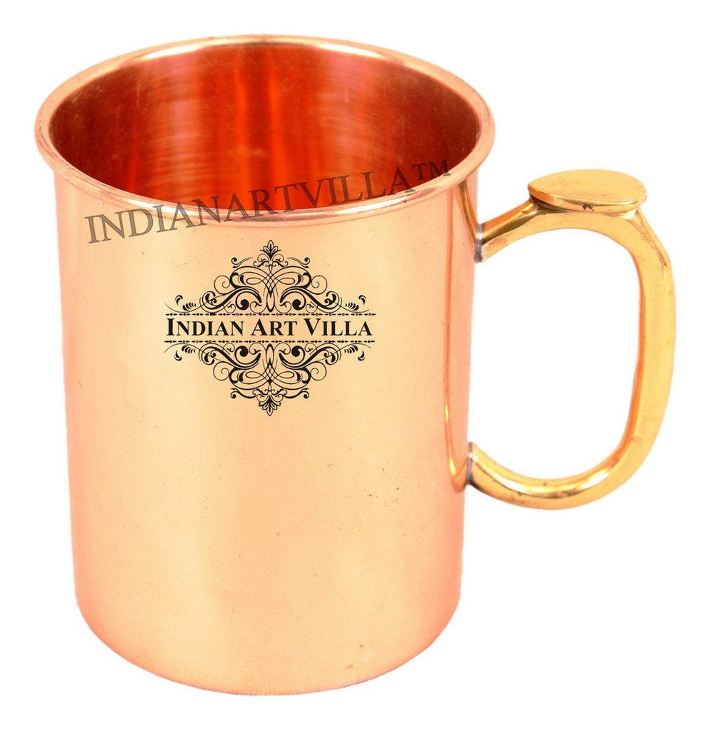 Pure Copper Moscow Mule Beer Mug with Brass Thumb Design Handle