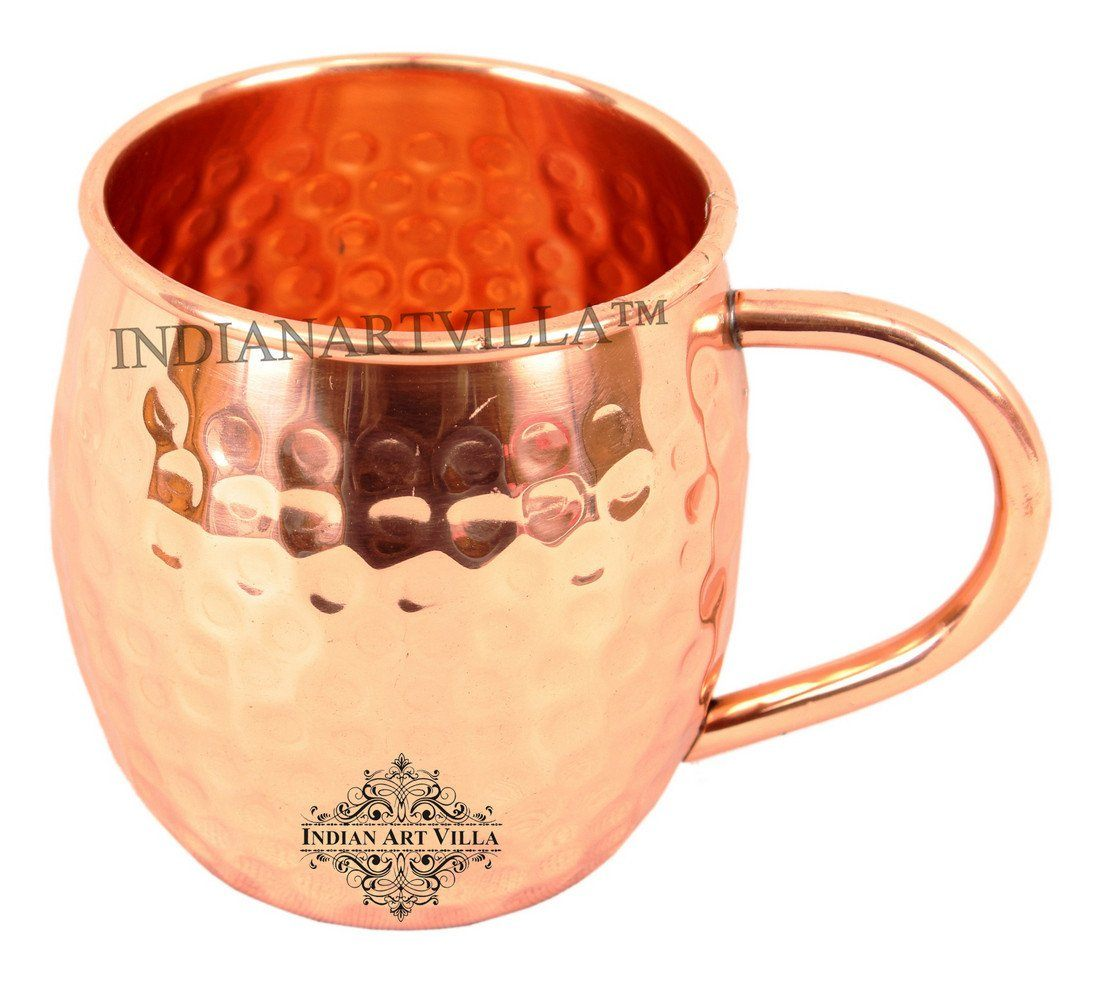 Pure Copper Moscow Mule Hammered Beer Mug Cup with Handle 18 Oz