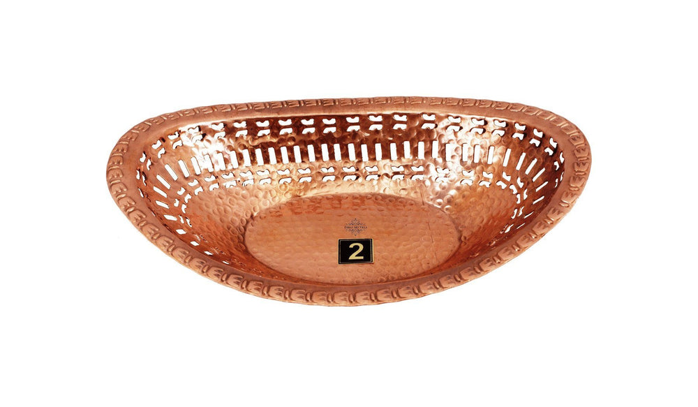 Pure Copper Oval Bread Proving Rattan Basket Bread Baskets Indian Art Villa