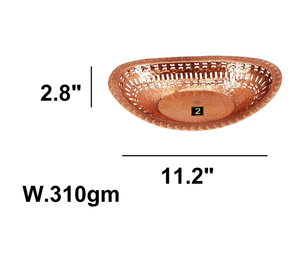 Pure Copper Oval Bread Proving Rattan Basket