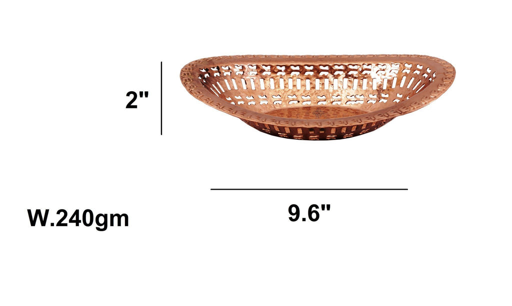 Pure Copper Oval Bread Proving Rattan Basket Bread Baskets Indian Art Villa Small