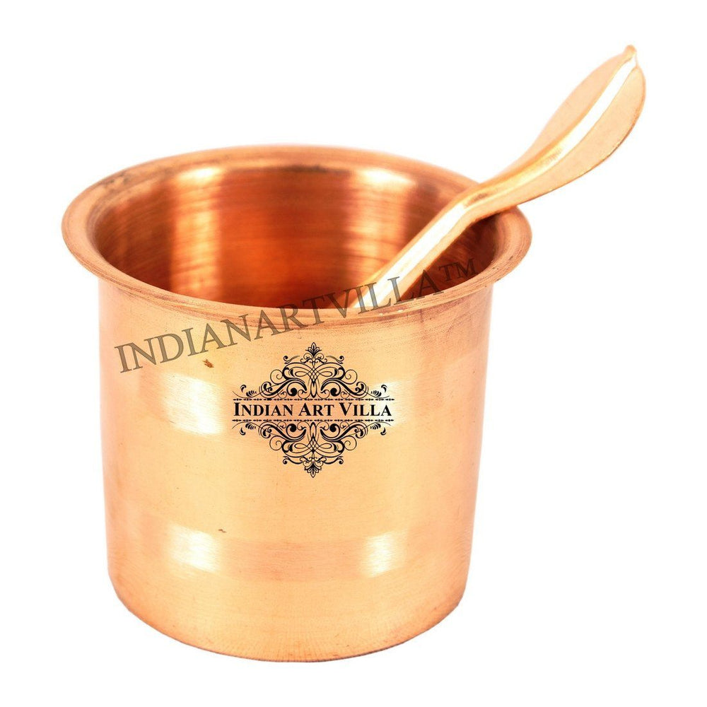 Pure Copper Panch Patra Glass with Spoon