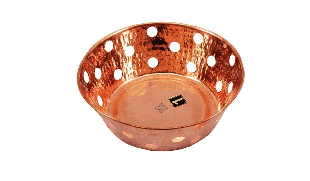 Pure Copper Round Bread Proving Rattan Basket For Serving Bread Baskets Indian Art Villa