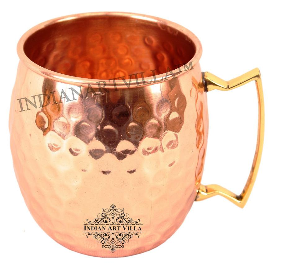 Pure Copper Round Hammered Moscow Mule Beer Mug 18 Oz