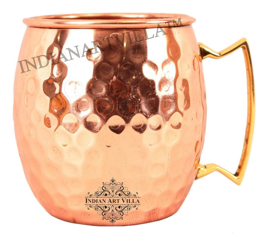 Pure Copper Round Hammered Moscow Mule Beer Mug 18 Oz Beer Mugs Indian Art Villa