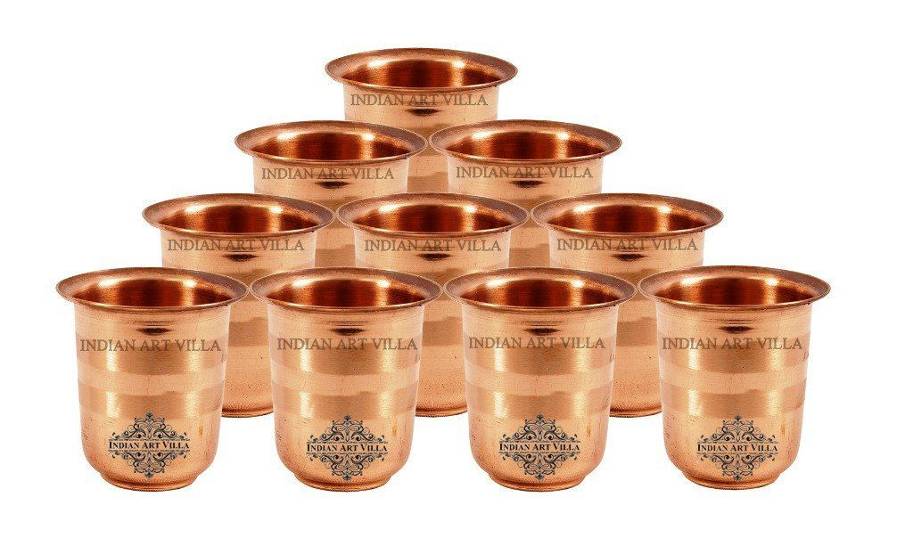Pure Copper Set of 10 Glass Cup - 3 Oz each