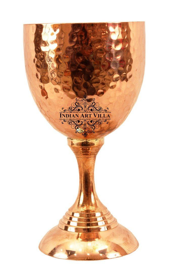 Pure Copper Wine Glass Flute Goblet Tumbler 8 Oz Wine Glasses Indian Art Villa