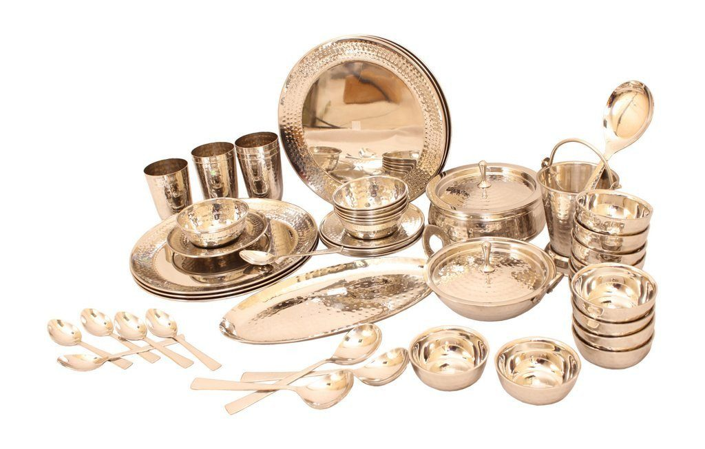 Royal Steel Dinner Set of 52 Pieces Steel Dinner Sets IndianArtVilla