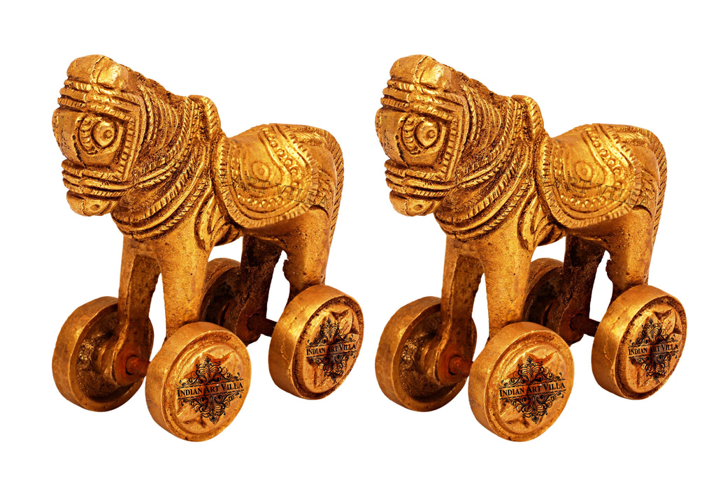 Set of 2 Big Brass Horses on wheels Home Accent IAV-BB-S-118-Big