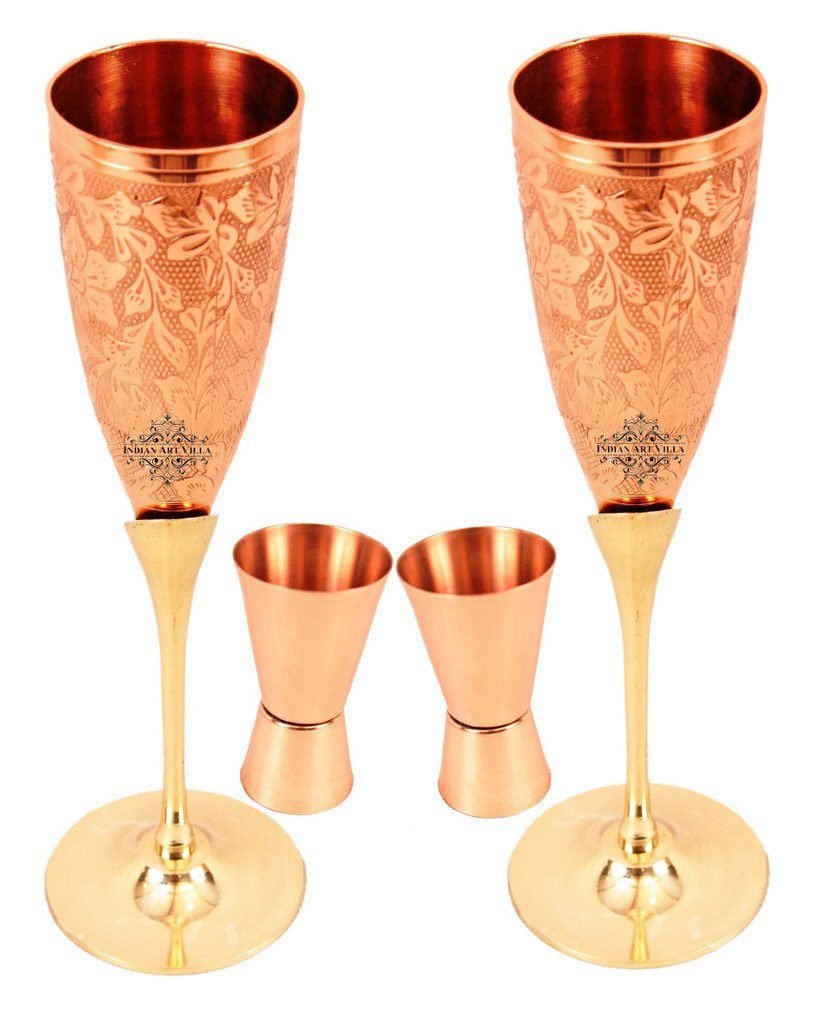 Set of 2 Copper Brass Designer Beer Glass | 150 ML | with 2 Shot Glass | 50 ML