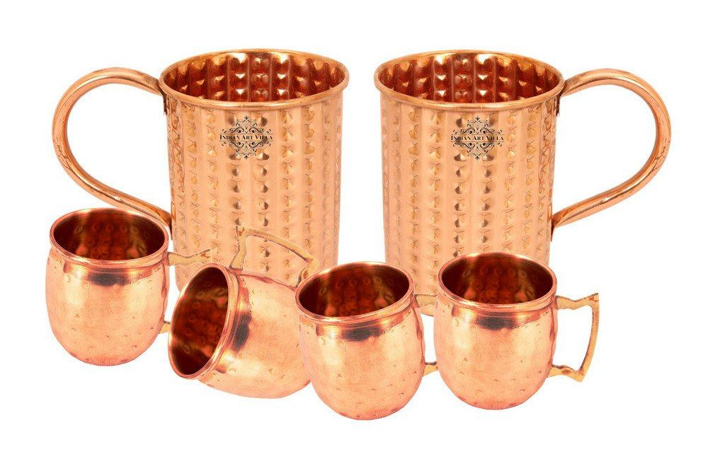 Set of 2 Copper Daimond  Cup | 415 ML | with 4 Small Moscow Mule Mug  | 50 ML each
