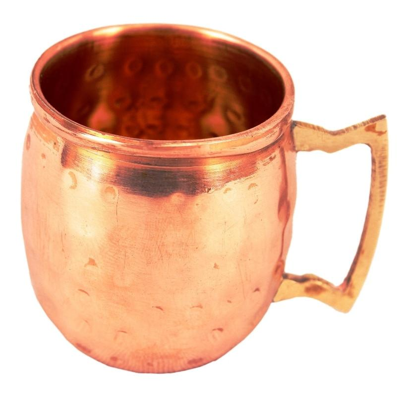 Set of 2 Copper Daimond Cup | 415 ML | with 4 Small Moscow Mule Mug | 50 ML each Copper Ware Bar Ware Combo Indian Art Villa