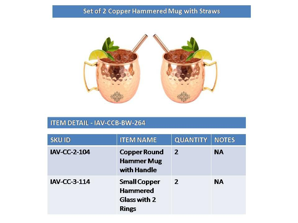 Set of 2 Copper Hammered Moscow Mule Mug Cup | 530 ML each | with 2 Straws Copper Ware Bar Ware Combo Indian Art Villa