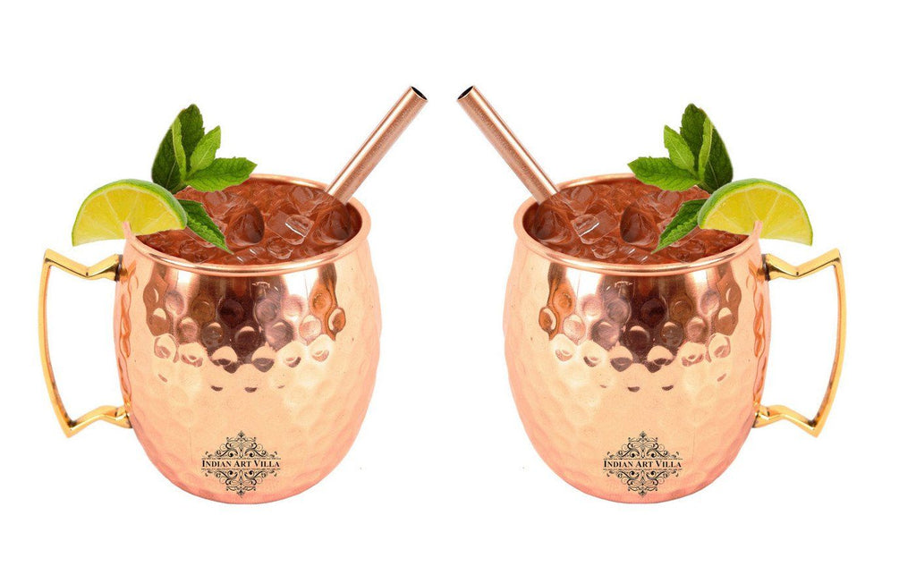 Set of 2 Copper Hammered Moscow Mule Mug Cup | 530 ML each | with 2 Straws