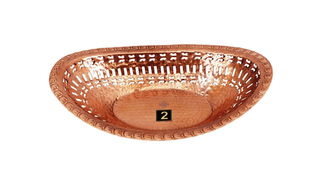 Set Of 2 Copper Oval Shape Bread Profing Proving Serving Basket Copper Ware Tableware Combo Indian Art Villa