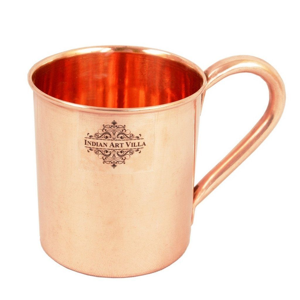 Set of 2 Copper Plain Mug Cup | 415 ML | with 4 Jigger Shot Glasses | 50 ML Copper Ware Bar Ware Combo Indian Art Villa