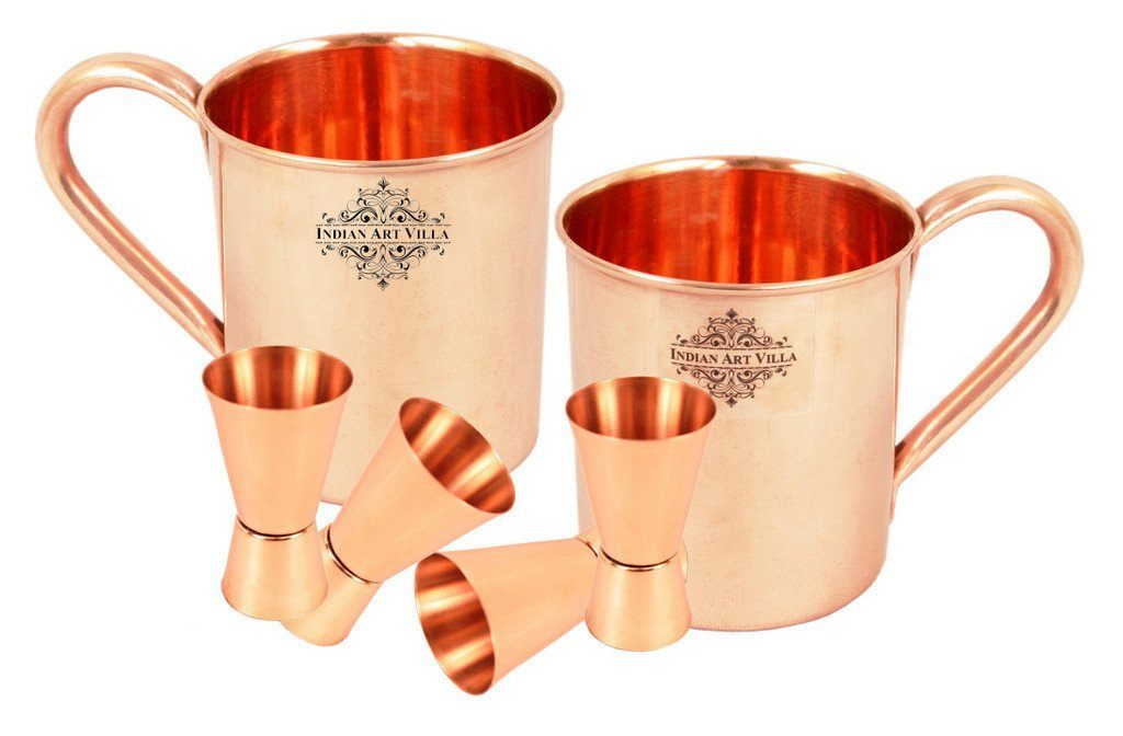 Set of 2 Copper Plain Mug Cup | 415 ML | with 4 Jigger Shot Glasses | 50 ML