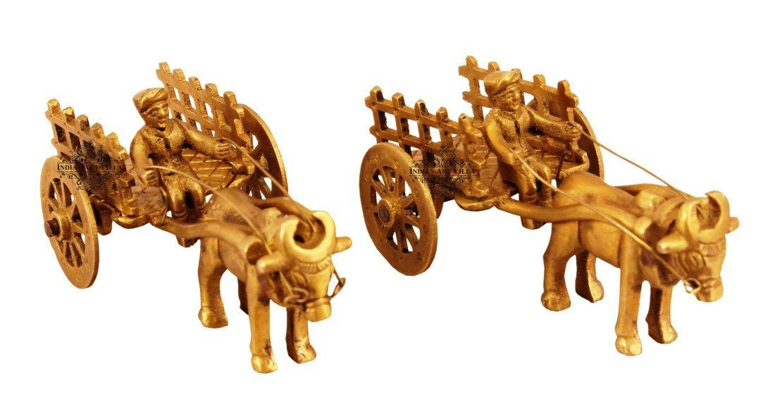 Set of 2 Handcrafted Best Quality Brass Bull Cart