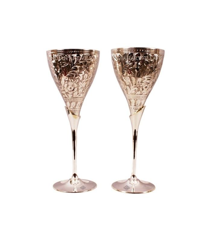 Set of 2 Silver Plated 6 Oz Glass with Stand