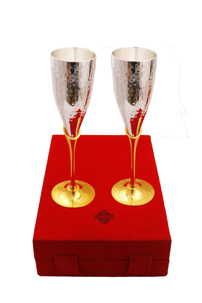 Set of 2 Silver Plated & Brass Champange Hammered Wine Glass With Red Box Champagne Tumblers IAV-SP-3-114-H-Red