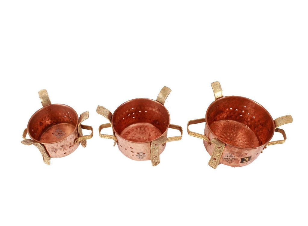 Set of 3 Copper Copper Traditional Sigdi Angeethi Food Warmer Copper Ware Tableware Combo Indian Art Villa