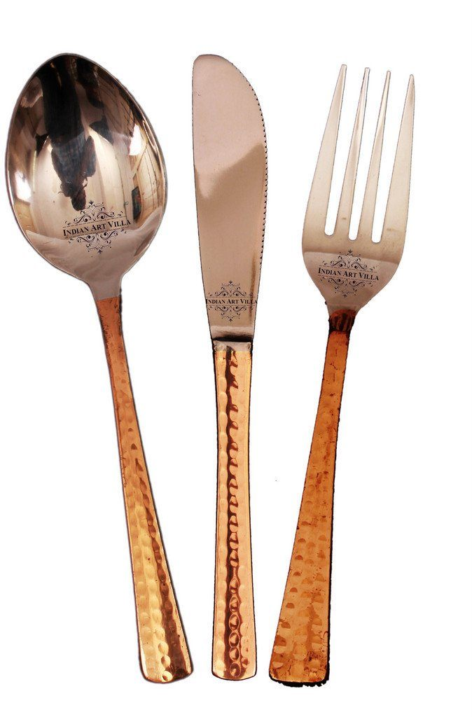 Set of 3 Steel Copper Cutlery Set - 1 Spoon with 1 Fork & 1 Knife Steel Copper Serve Ware Combo Indian Art Villa