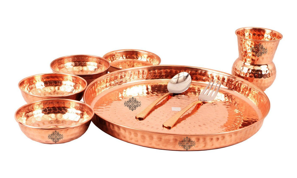 Set of 4 (8 Pieces Each) Copper Thali Dinner Set with 1 Copper Nickel Hammered Jug Pitcher | 1750 ML Copper Ware Tableware Combo Indian Art Villa