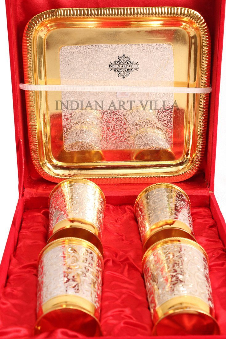 Set of 4 Designed Silver Plated Gold Polished Glass Goblets Silver Plated Tumblers Indian Art Villa