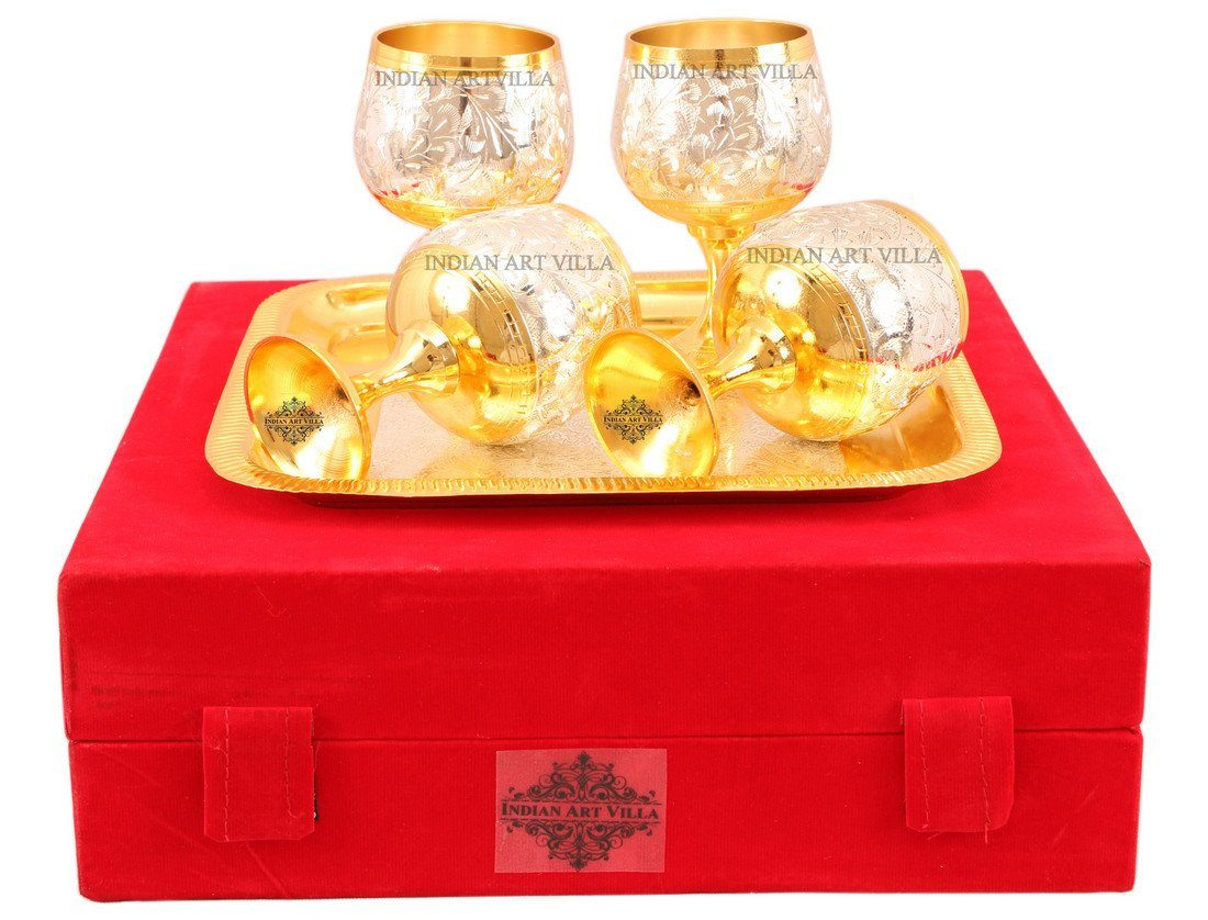 Set of 4 Silver Plated Gold Polished Wine Glass with a Square Tray