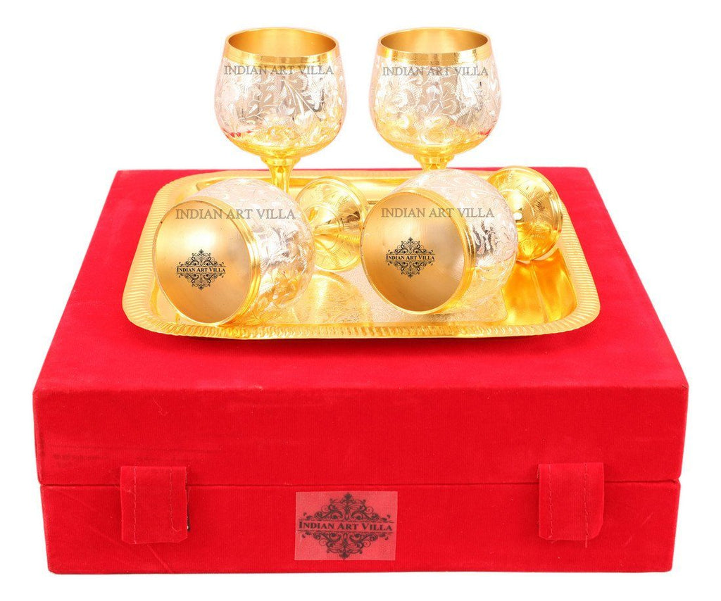 Set of 4 Silver Plated Gold Polished Wine Glass with a Square Tray Silver Plated Tumblers Indian Art Villa