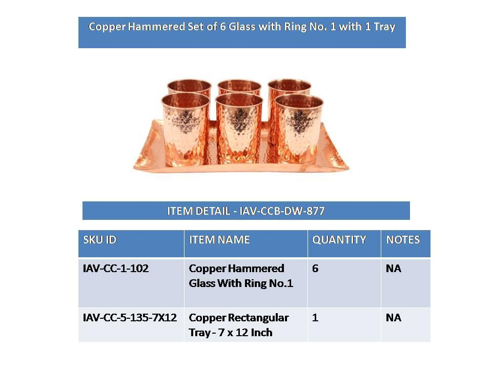 Set of 6 Copper Hammered Goblet Glass Tumbler | 300 ML each | with 1 Rectangular Serving Tray Platter Copper Ware Drink Ware Combo Indian Art Villa