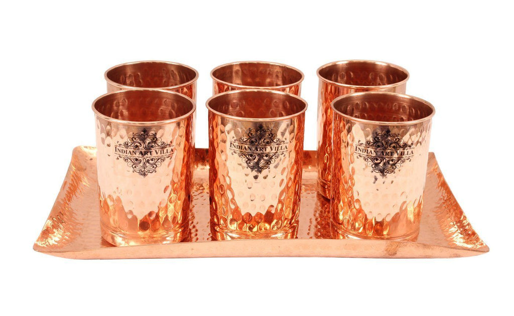 Set of 6 Copper Hammered Goblet Glass Tumbler | 300 ML each | with 1 Rectangular Serving Tray Platter