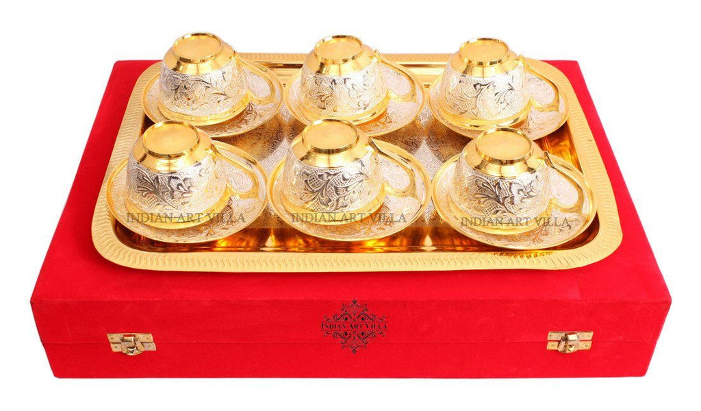 Set of 6 Designed Gold Polished Silver Plated Cup Saucer with 1 Tray