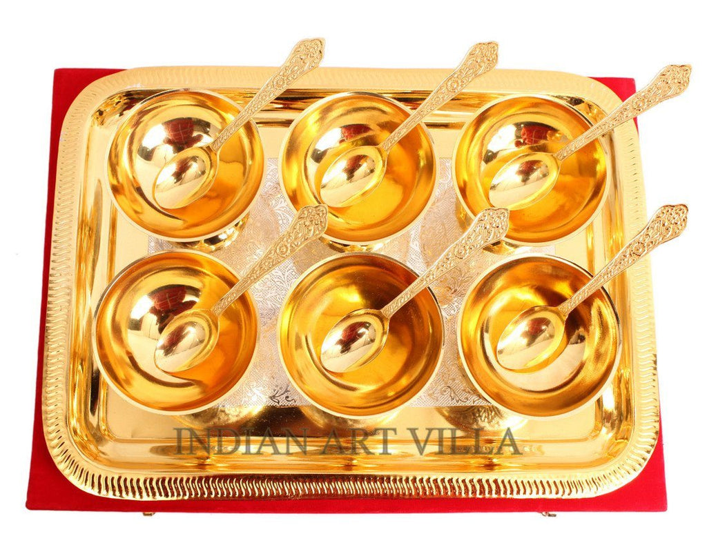 Set of 6 Gold Polished Ice Cream Bowl Tray and 6 Gold Polished Spoon Silver Plated Combo Sets Indian Art Villa