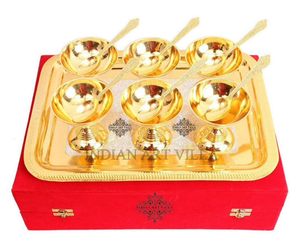 Set of 6 Gold Polished Ice Cream Bowl Tray and 6 Gold Polished Spoon