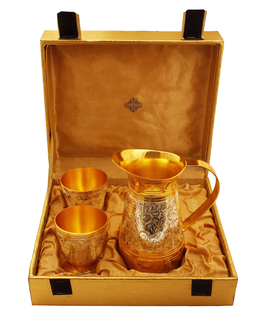 Set of Silver & Gold Plated Jug & 2 Glass Silver Plated Combo Sets IAV-SP-3-174