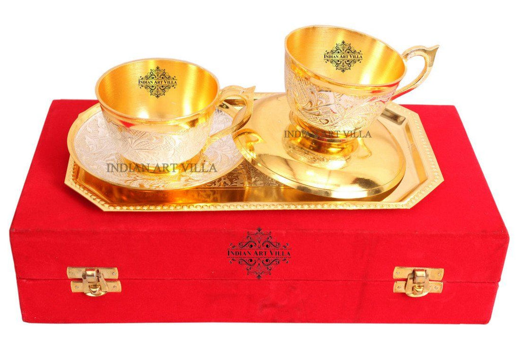 Set of Silver Plated Gold Polished Cup Saucers with 1 Tray Silver Plated Combo Sets Indian Art Villa