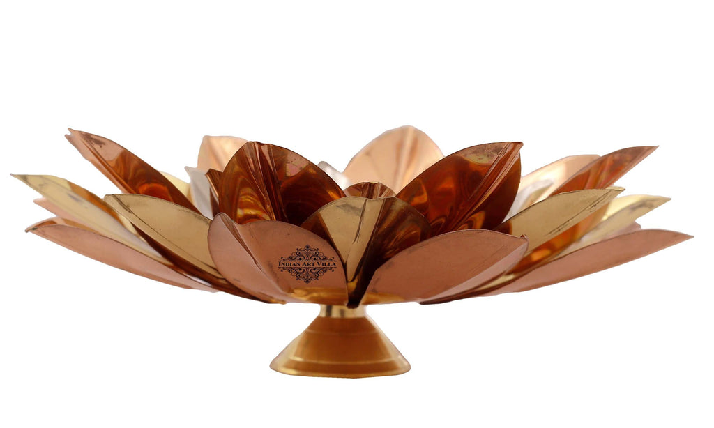 Silver Gold Copper Lotus Design Tea Light Candle Diya Aarti Lamp IAV-SP-3-176-T