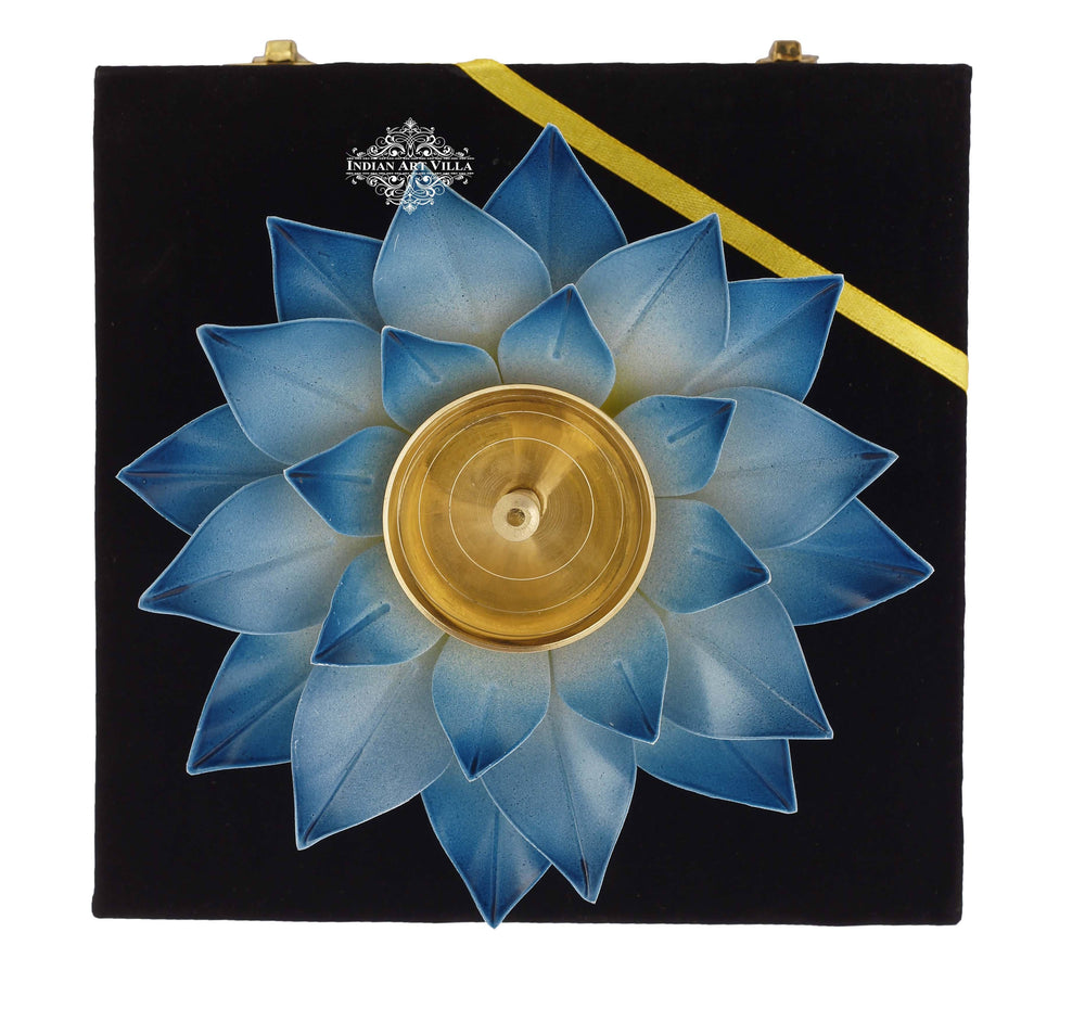 Silver Gold & Copper Plated Lotus Design Diya Deepak Candle Stand IAV-SP-3-176- Blue