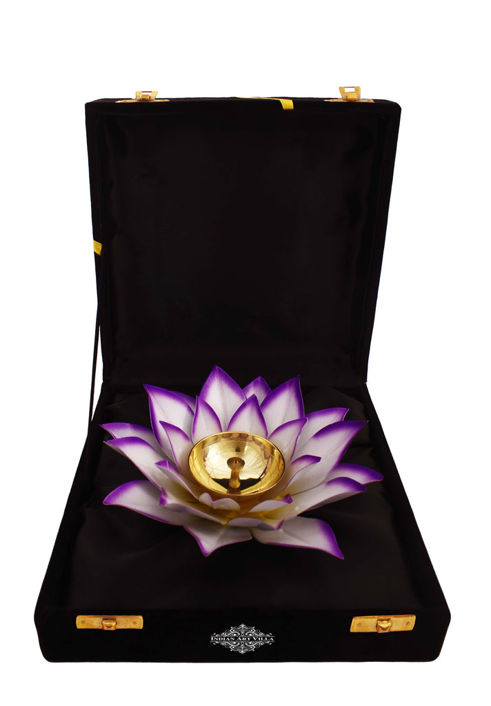 Silver Gold & Copper Plated Lotus Design Diya Deepak Candle Stand IAV-SP-3-176- Purple