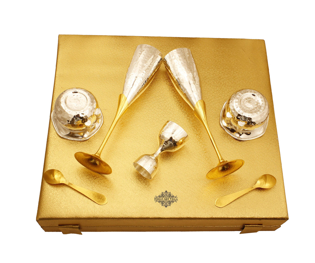 Silver & Gold Plated Champagne Glass, Silver 2 Bowl & Peg Measure, Gold Plated 2 Spoon Silver Plated Combo Sets IAV-SP-3-191