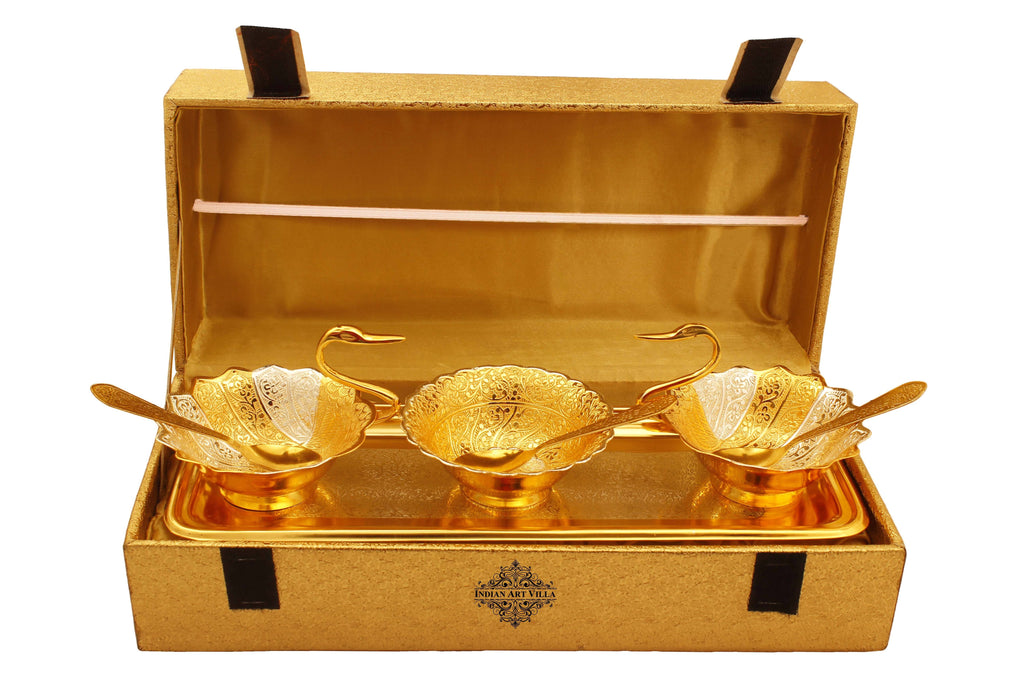 Silver & Gold Plated Embossed Duck Design 2 Bowl, 1 Designer Bowl, 1 Tray & 3 Spoon Silver Plated Combo Sets IAV-SP-3-190