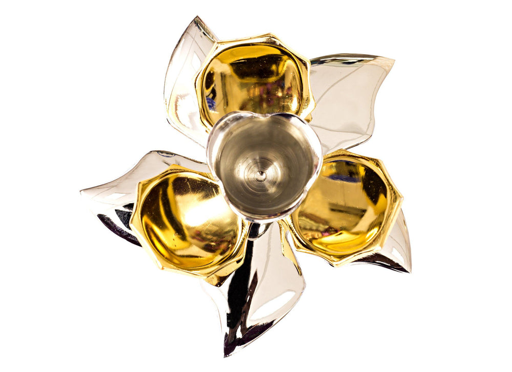 Silver Gold Plated Handmade Flower Design 1 Steps Candel Stand Candle Stand SP-2