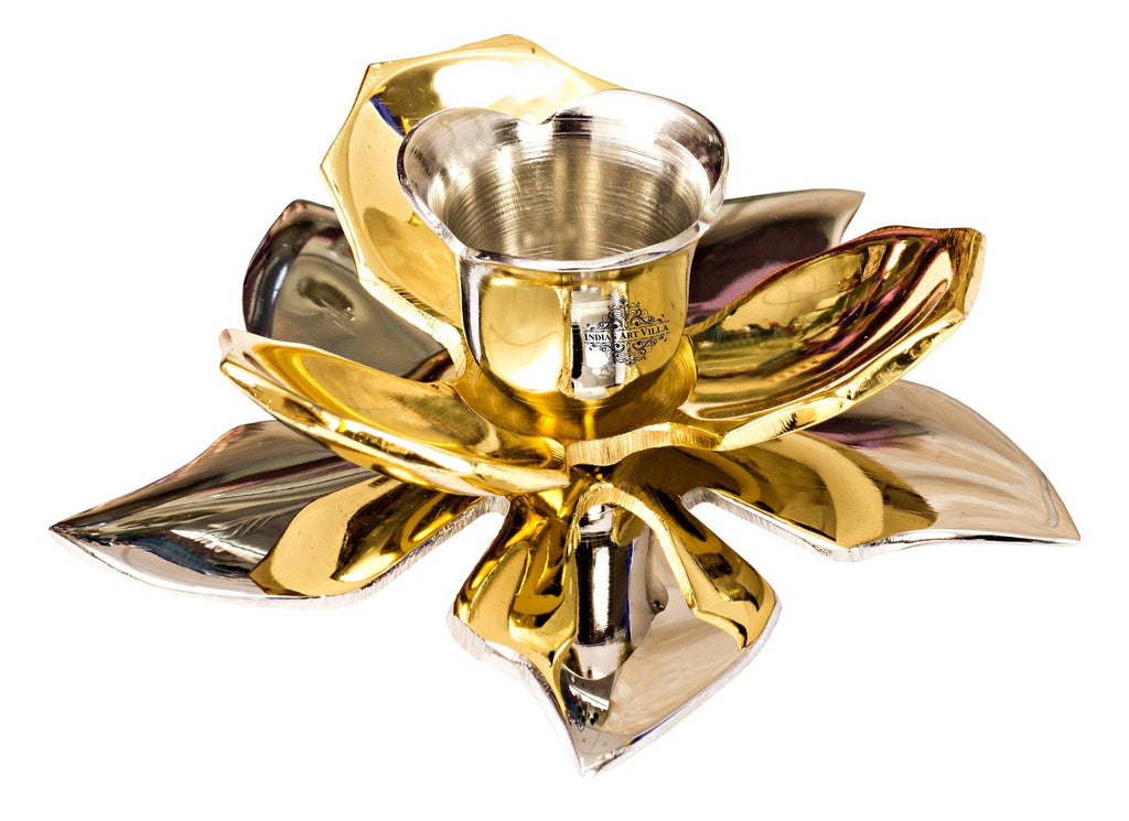 Silver Gold Plated Handmade Flower Design 1 Steps Candel Stand