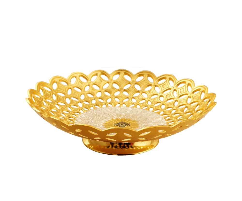 Silver & Gold Plated Jaali Cut Design Bowl, 9.4'' Inch Silver Plated Bowls IAV-SP-3-182