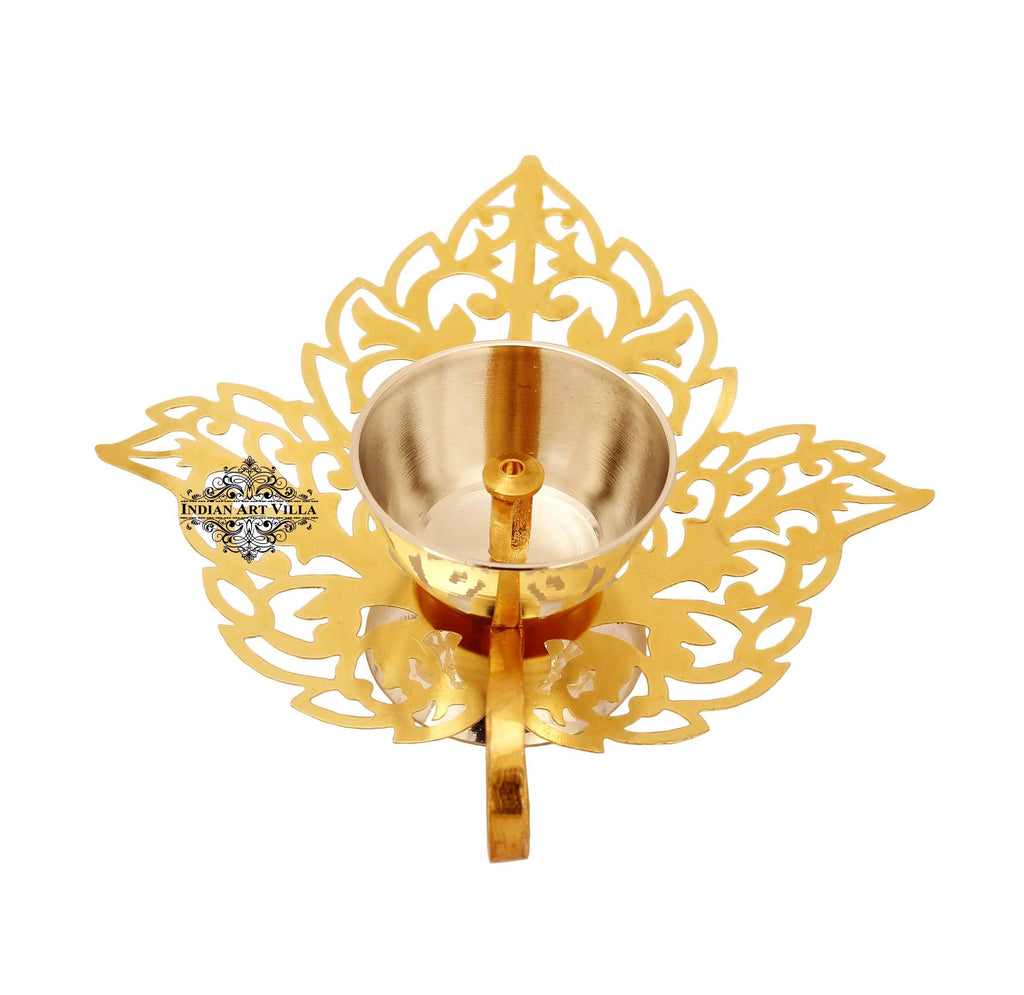 Silver & Gold Plated Leaf Design Akhand Diya Aarti Lamp IAV-SP-3-193