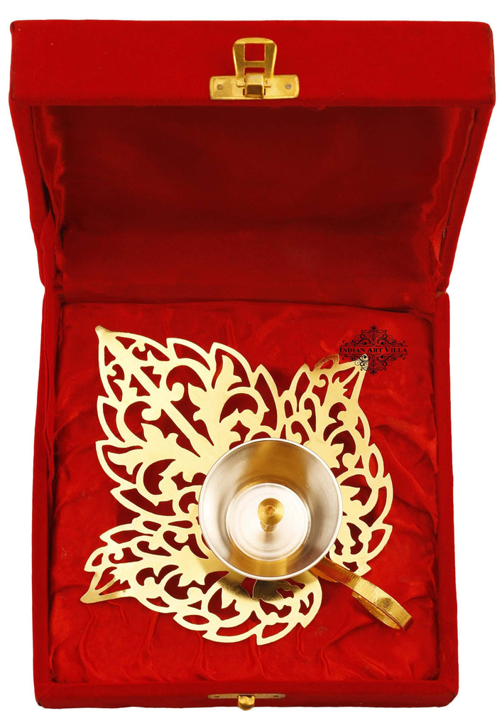Silver & Gold Plated Leaf Design Akhand Diya