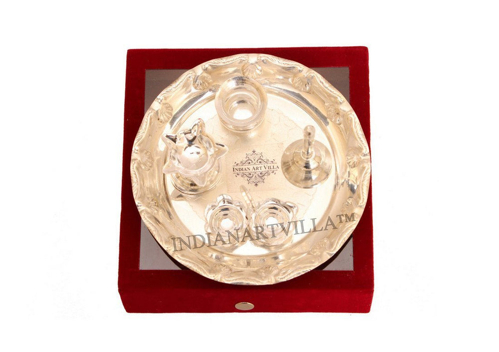 Silver Plated 5 Piece Pooja Thali Set with Gift Box Silver Plated Worship Plates Indian Art Villa