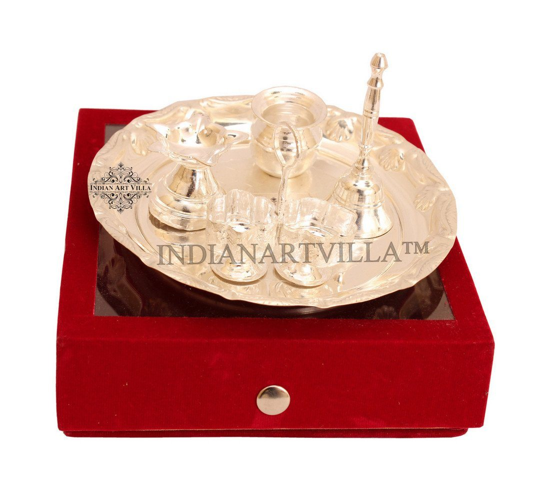 Silver Plated 5 Piece Pooja Thali Set with Gift Box